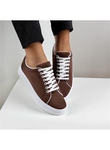 OKHU SHOES Kadın Süet Bağcıklı Günlük Sneaker Spor Ayakkabı Kahve